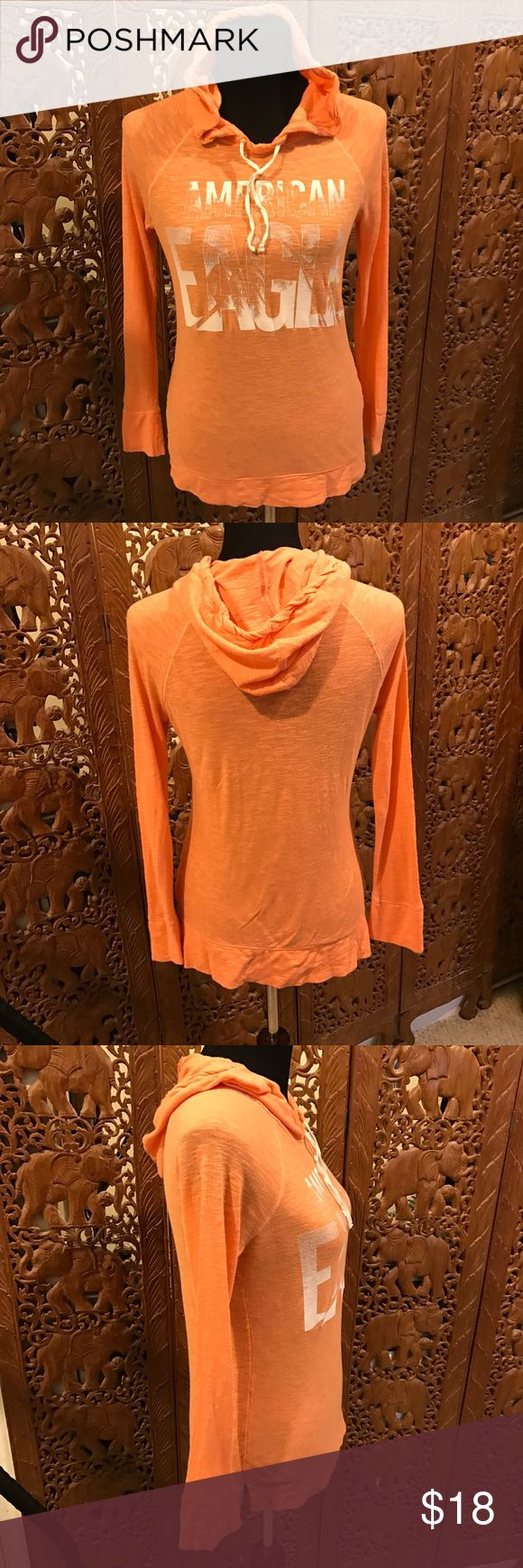 AE Orange Pullover Tee w/Hoodie Pullover Teeshirt material with hoodie. No stains or rips. American Eagle Outfitters Tops Tees - Long Sleeve