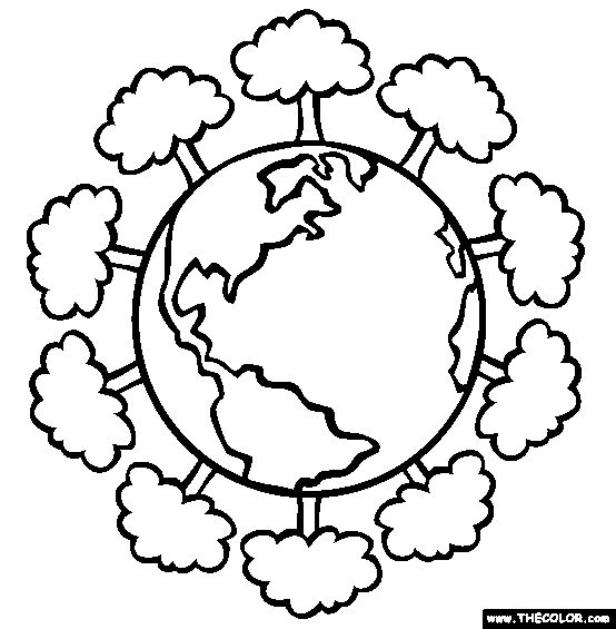 Green Earth Coloring Page | Free Green Earth Online Coloring