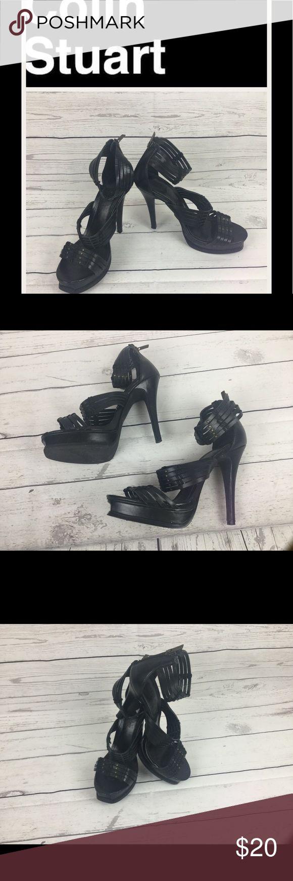 """Colin Stuart Black Leather Sandals, Sz 7.5. Colin Stuart Black Leather Sandals, Sz 7.5.  Heel height 5"""". In good condition.  Great looking shoes. Colin Stuart Shoes Heels"""