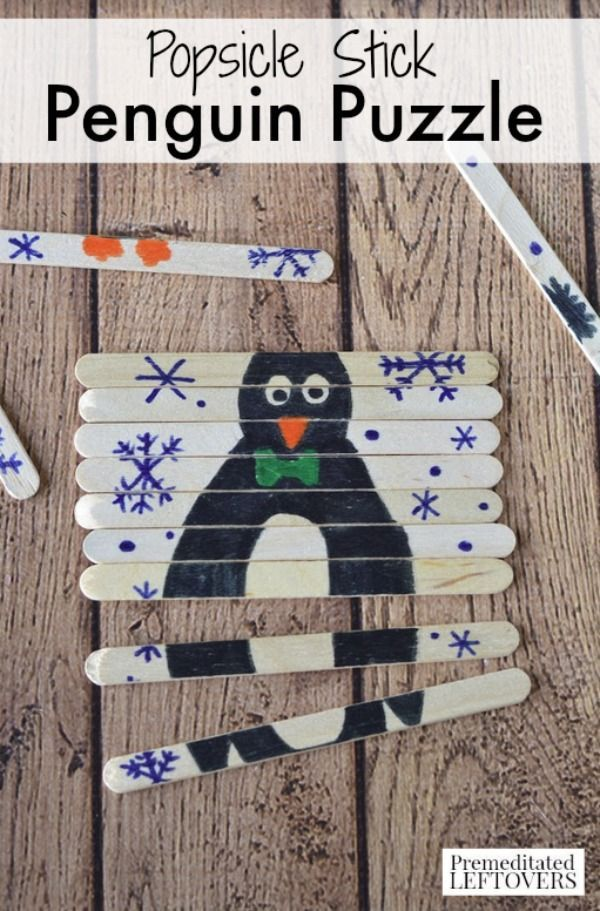Follow the simple tutorial to make this DIY Popsicle Stick Penguin Puzzle. It's a frugal craft project for kids to kick off winter and a fun activity idea for kids learning about words that begin with the letter P.