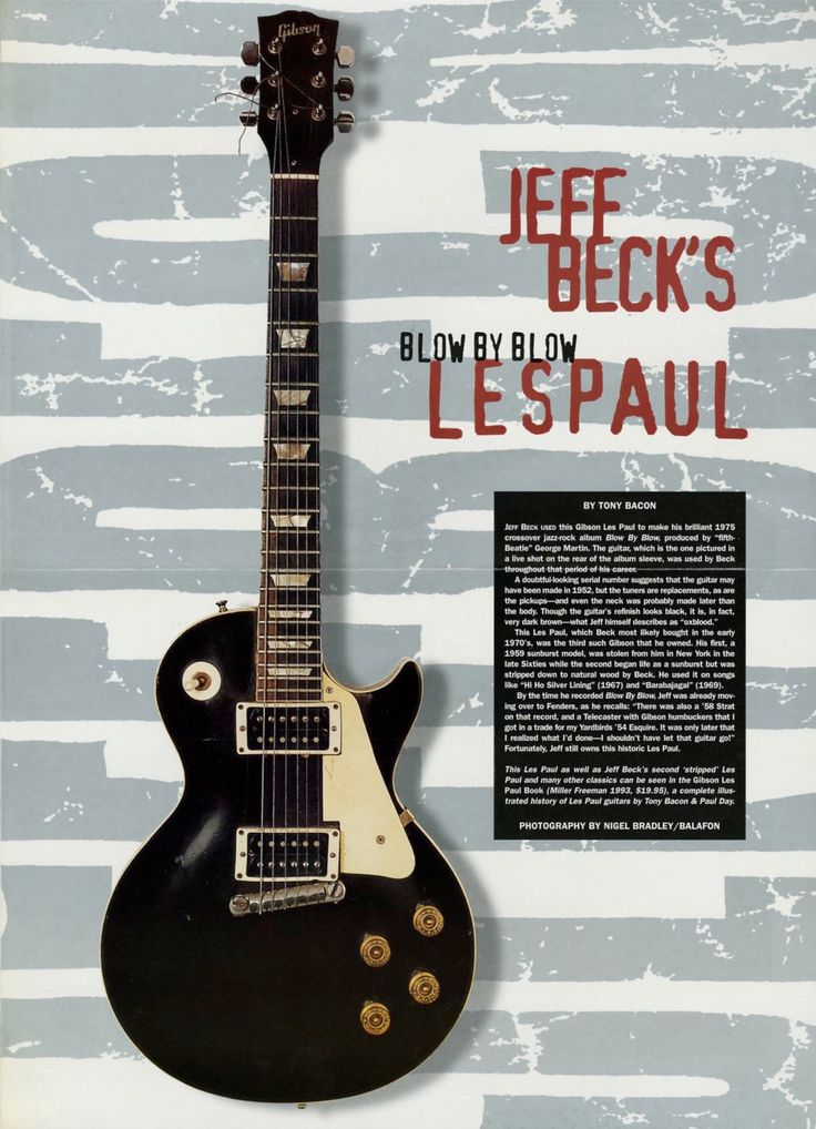 Vintage Gibson Les Paul Guitar Poster - Jeff Beck - Blow By Blow - Music Room Decor - Music Gift - Rock N Roll - Music Memorabilia by MusicSellerz on Etsy