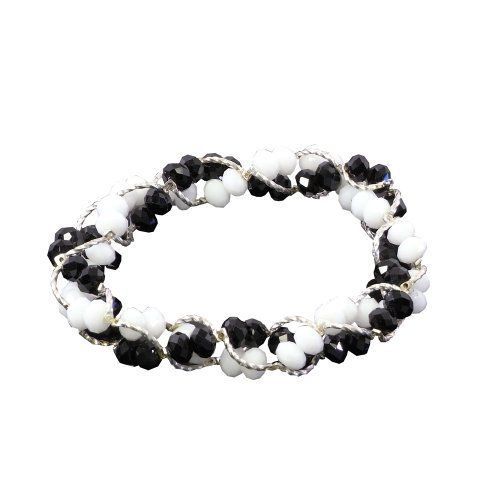 White Opal Faceted Crystals Black Faceted Crystals Silver Braided Bracelet Stretchable Stylish Blancho Bedding. $10.99. Special process, stretchable easily to fit over wrist, comfortable to wear.. Round shape with white opal faceted crystals, black faceted crystals and carved high-density alloy.. Easy to match with other accessories, perfect accessory ensemble for every occasion.. Elegant, generous, beautiful features represent the unique charm of the wearer.. 100% brand new, q...