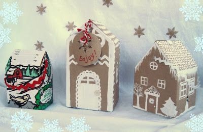 maya*made: simple gifts: milk carton cookie houses