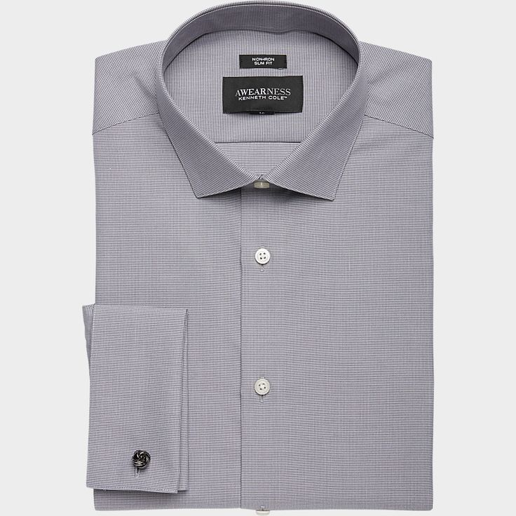 Buy a Awearness Kenneth Cole Gray Check Slim Fit French Cuff Dress Shirt and other Slim Fit at Men's Wearhouse. Browse the latest styles, brands and selection in men's clothing.
