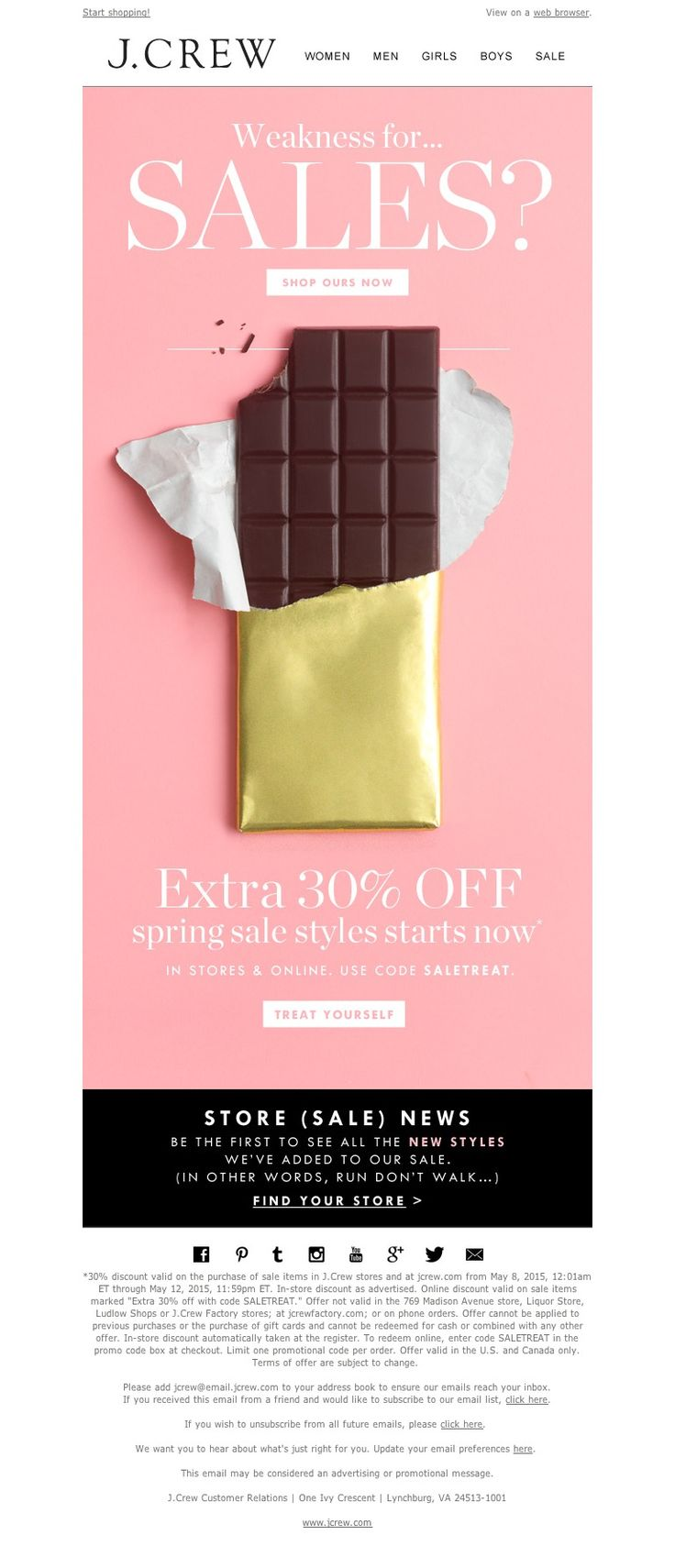 J.Crew - It's back. The Even Sweeter Sale (extra 30% off spring sale styles) starts now. Plus, there are n...