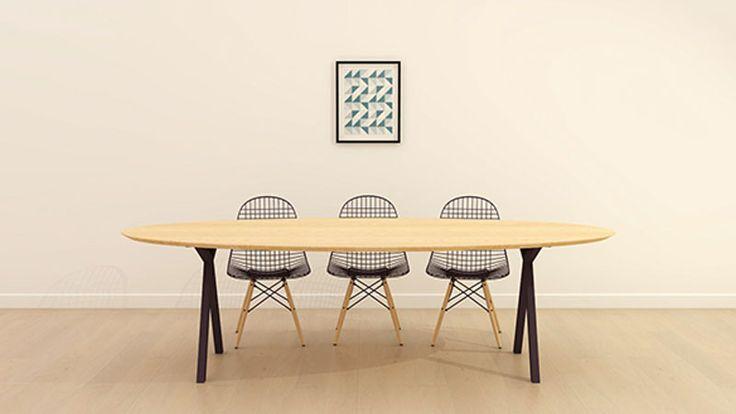 Design Tafel Ovaal Slim X-type Zwart Naturel olie wax Studio H&K Eiken Hout kwaliteit, stalen ijzeren metalen poten onderstel frame