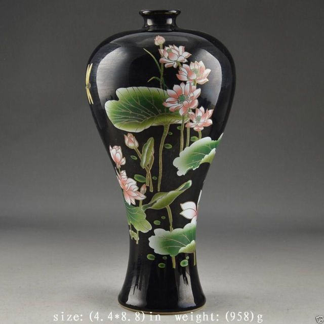 Decorative Porcelain Chinese Old Hand Painting Lotus Atmosphere noble Big Vase