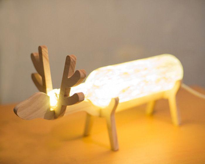 Luminária de mesa de Alce - Garrafa de vidro e madeira