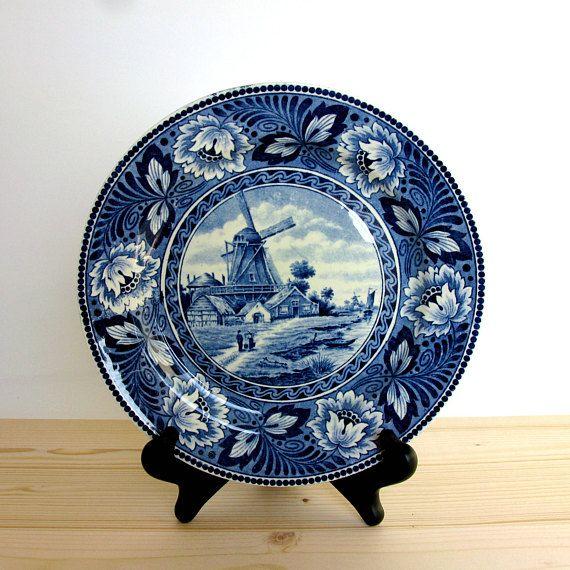Antique Societe Ceramique Maestricht Hollandia Pattern Blue White Plate Dutch Blue Plate Wall Plate Windmill Holland Plates On Wall Blue Plates Wall Blue Plates