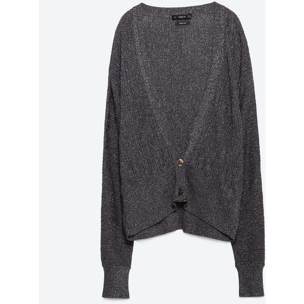 Zara Cardigan With Bat Sleeves ($50) ❤ liked on Polyvore featuring tops, cardigans, charcoal grey, batwing sleeve tops, zara cardigan, zara top, bat sleeve tops and bat sleeve cardigan
