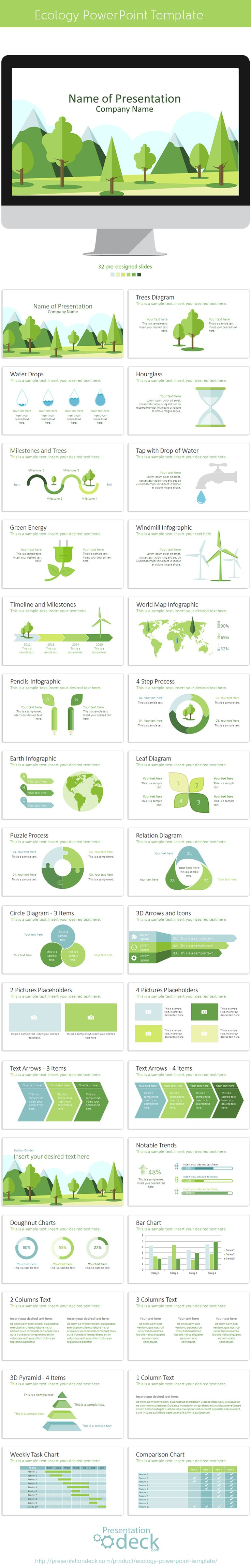 Ecology PowerPoint Template with 32 pre-designed slides. #ecology #powerpoint #presentations #green