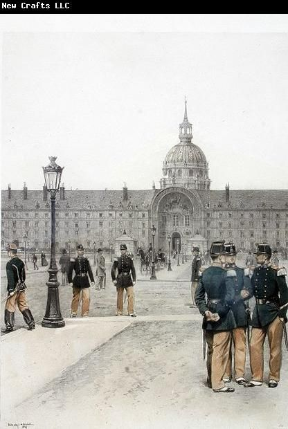 Print by Edouard Detaille les Invalides in background