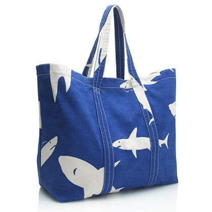 Virginia Johnson for J.Crew tote, canvas, take to the beach, vacation, blue tote