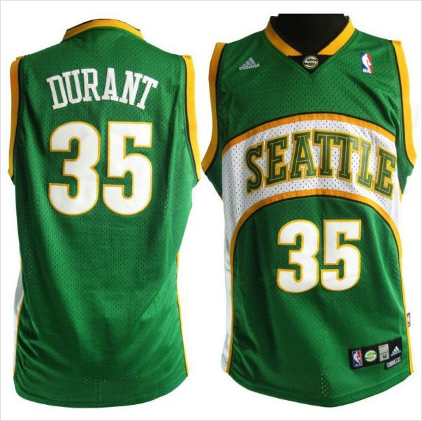 c6666d5f7ff ... Mens Seattle Supersonics Kevin Durant 35 Green Authentic NBA Jersey on  eBid United States ...