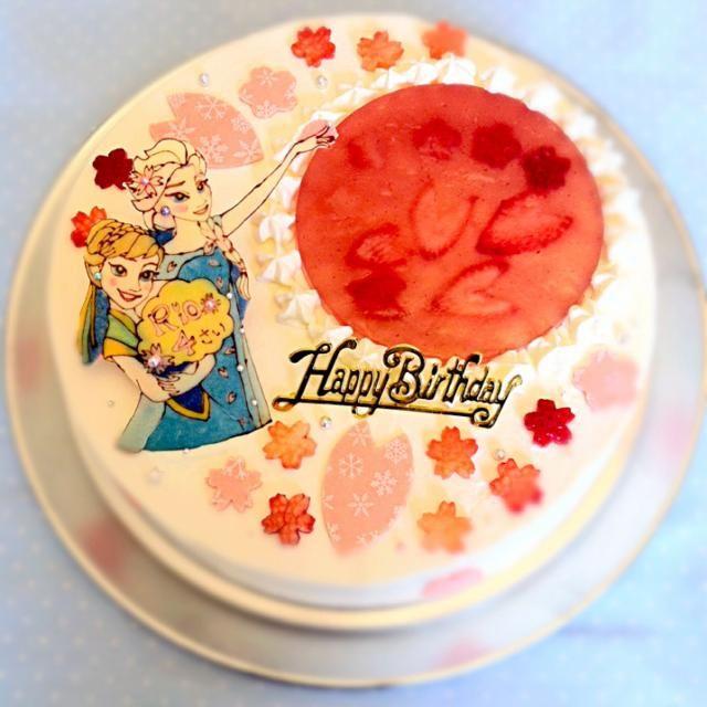 次女ちゃんからのリクエストはやっぱりアナ雪❄️ でも桜も満開だし、次女ちゃんの名前に桜が入ってるので、エルサには桜の女王になってもらいました  そして初めて9号サイズ、直径27センチで作ってみました!やっぱデカイのっかる皿がない!(笑) - 70件のもぐもぐ - 次女ちゃんの誕生日ケーキ 4歳✳︎アナ&エルサ〜アナと桜の女王〜 by chihachihachiha