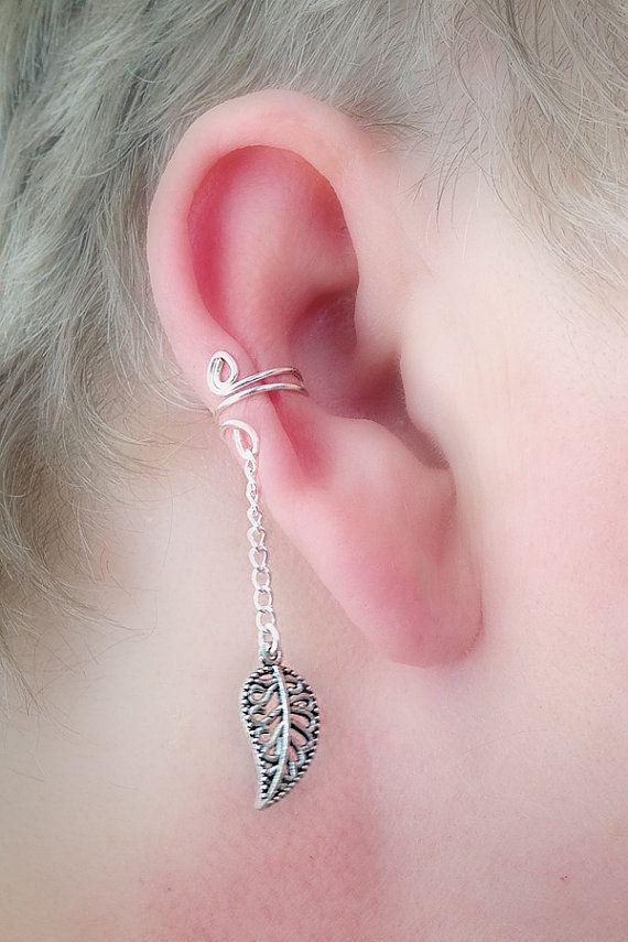 Ear Cuff/ Leaf Filigree Dangle Antique by TheLazyLeopard on Etsy, $9.00
