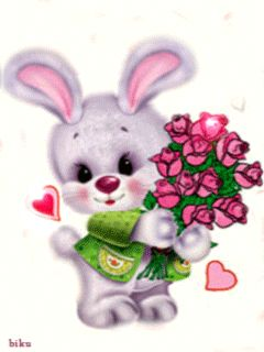 CARTOON BUNNY WITH BOUQUET OF ROSES
