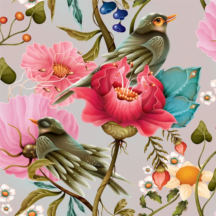 Bird pattern by Finnish illustrator Annika Hiltunen, 2016