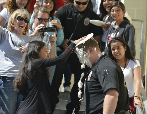 A pie to the face raises funds for AVID program