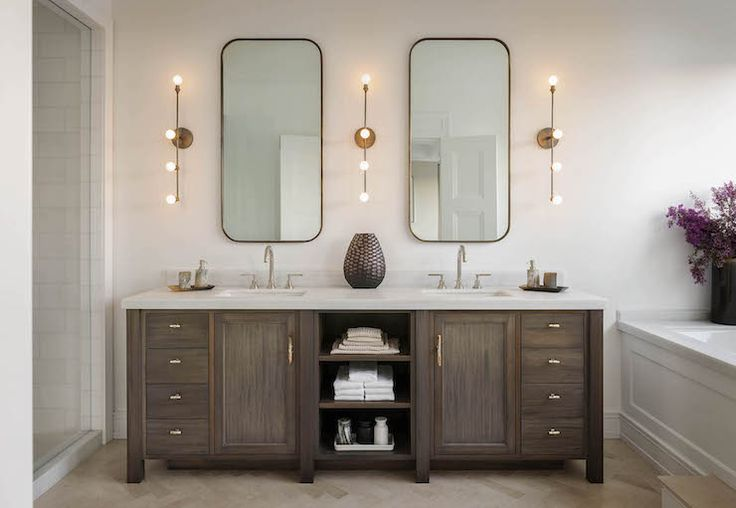 Double Vanity with Center Shelves, Transitional, Bathroom, Sutro Architects// vanity stain