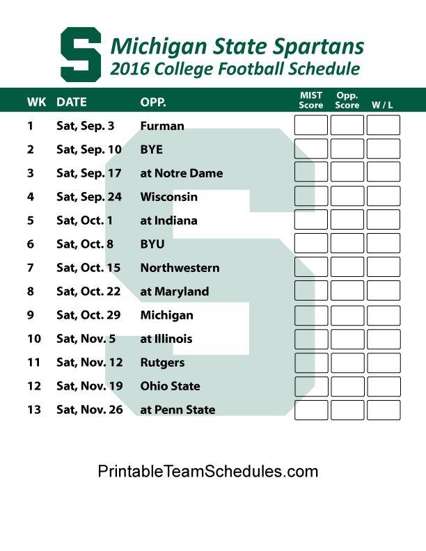 Michigan State Spartans Football Schedule 2016. Printable Schedule Here - http://printableteamschedules.com/collegefootball/michiganstatespartans.php