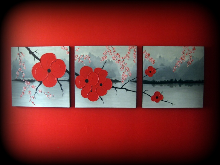 Original Wall Art 54 x 18 x 1.5 Abstract Landscape Modern Textured Red Cherry Blossom Tree Branch Sakura Painting
