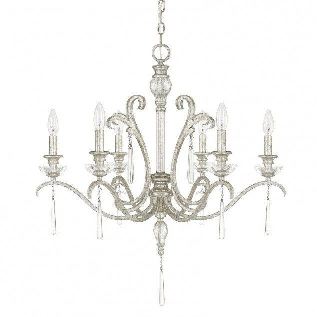 Capital Lighting 4786-000 Celine 6 Light 1 Tier Candle Style Chandelier Antique Silver Indoor Lighting Chandeliers