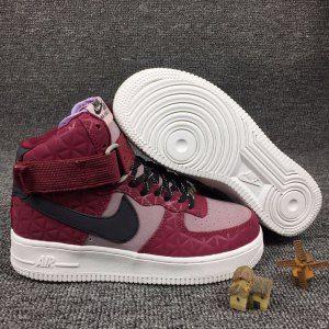 best website 74e91 d1f0a Nike Air Force 1 Hi Premium Suede Red Pink Black Plum Fog 845065 600 Womens  Running Shoes