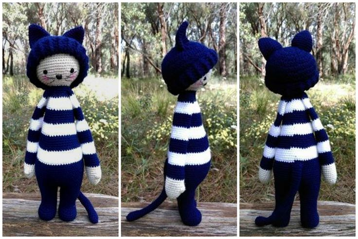 'Geelong Cats' Cat...Collage.   Project information and pattern link here;   http://www.ravelry.com/projects/LindaDavie/lalylala-paul-the-toadstool-14