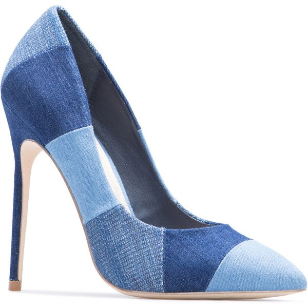 ShoeDazzle Pumps Orlinda Womens Blue ❤ liked on Polyvore featuring shoes, pumps, blue, blue denim shoes, denim shoes, color block pumps, color block shoes and pointed toe pumps