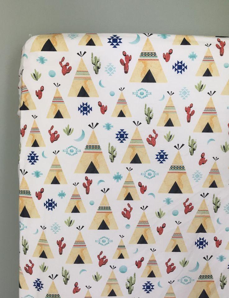 Teepee Print Crib Sheet, Southwestern Nursery, Gender Neutral Print, Fitted Crib Sheet, Tribal Crib Bedding, Teepee Crib Bedding by PreciousandPink on Etsy