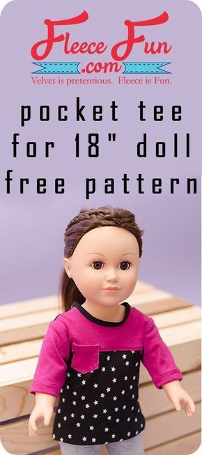 """This Pocket Tee Shirt for 18"""" Doll is a perfect sewing project for an American Girl Doll. This free sewing pattern makes for a great handmade gift ideas for girls."""