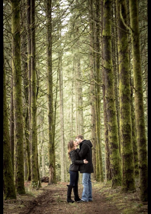 Woods engagement photo - rustic outdoor. Love the trees