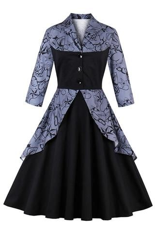 Atomic Black Stars and Floral Swing Dress