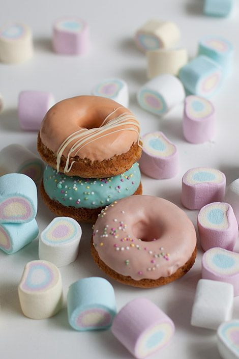 Cute pastel coloured donuts