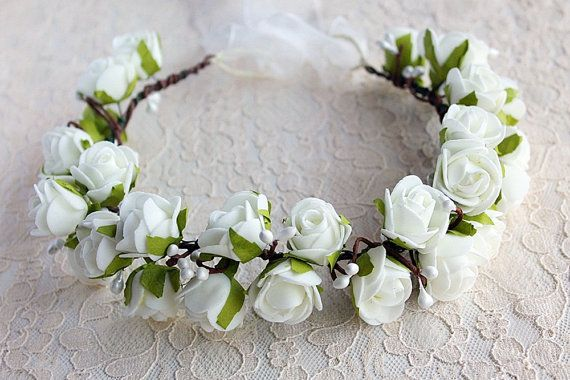 Rose Wedding Head Piece, Bridal Rose Crown, Rustic, Boho, Wedding Head Wreath, Woodland Wedding Crown, Ivory Roses Crown, Flower Girl Halo
