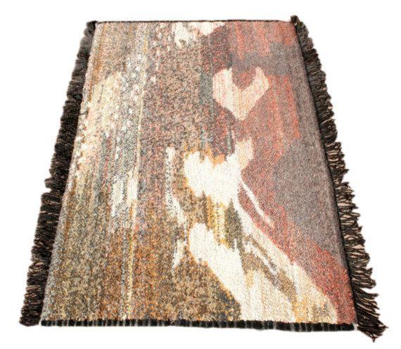 Designerteppich, Wandteppich, Moderner Teppich, Wandbehang, Berber Teppich, Natürlich gefärbter Wollteppich, Lammwolle, Wandschmuck