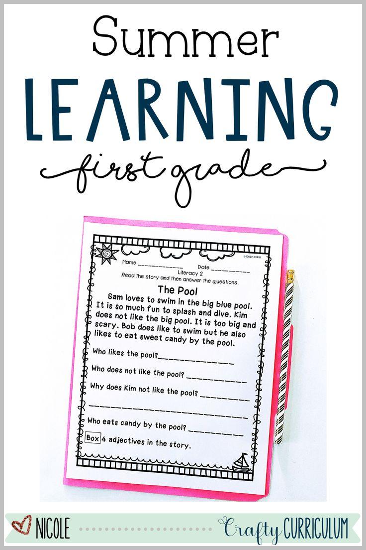 First Grade Summer Learning Packet Summer Learning Packet Summer Learning Learning Worksheets [ 1104 x 736 Pixel ]