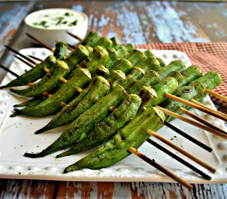 Peppery Grilled Okra and Lemon-Basil Dipping Sauce is a quick, fresh grilled appetizer that's light, healthy, and pretty tasty, too!