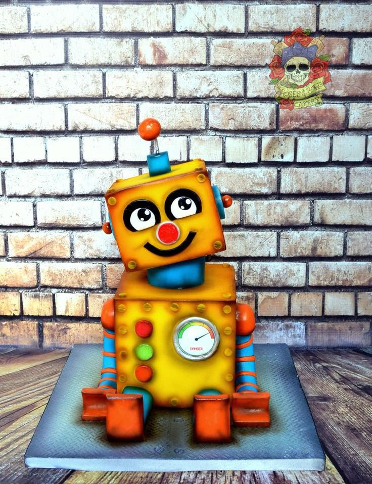 Sculpted 3-D Yellow Robbie the Robot Cake