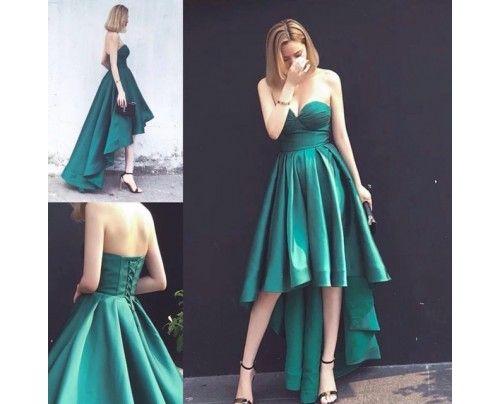 Lace-up Sweetheart Hot Asymmetrical Hi-Lo Sleeveless Ruffles Evening Gown