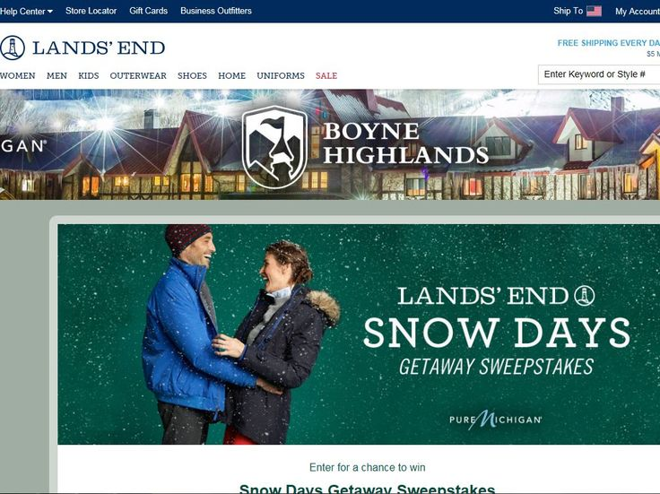 Enter the Lands' End Snow Days Getaway Sweepstakes for a chance to win a 5-day/4-night trip for five to Northern Michigan!