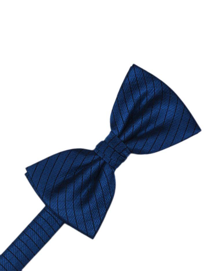 Royal Blue Diamond Grid Pattern Formal Bow Tie