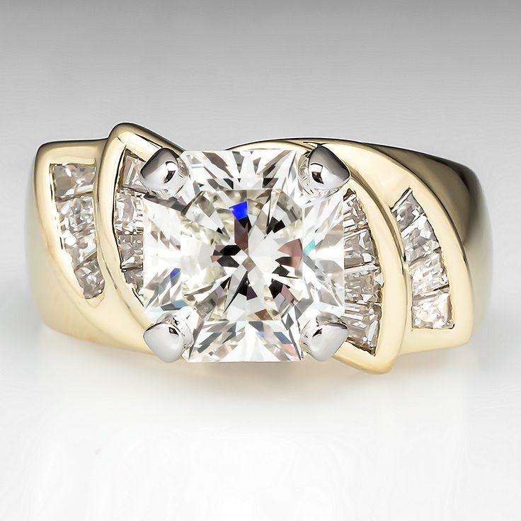Rectangle Cut 3 Carat Diamond Engagement Ring 18K Gold