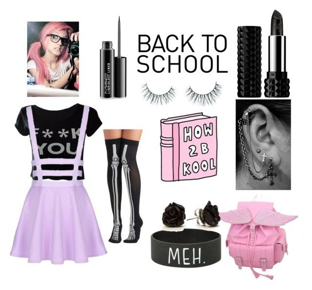 """""""kora #8 back to school"""" by kawaii-taco ❤ liked on Polyvore featuring M:UK, Hot Topic, Kat Von D, Unicorn Lashes, MAC Cosmetics and tabbisocks"""
