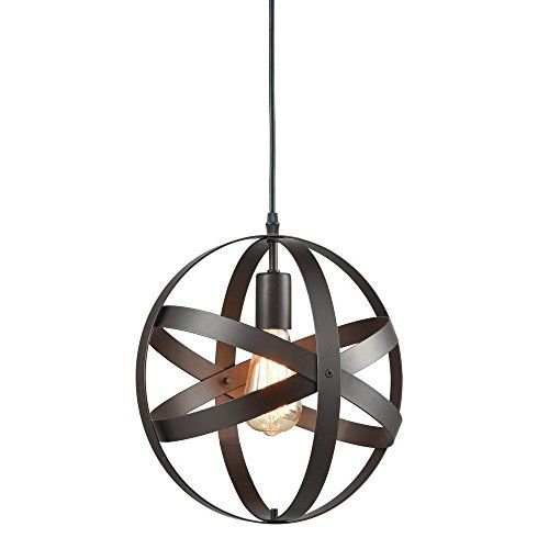 Truelite Industrial Metal Spherical Pendant Displays Changeable Hanging Lighting Fixture - Type: vintage mini pendant lamp. Dimension: D:11.81'', H:11.81''. Shipping Weight: 1.8 KG. Style: vintage/transitional/art deco/casual. Bulb Base: medium E26. Bulb Type: Incandescent, LED Bulb Included: no Voltage: 110-120V (U.S. standard line voltage) Maximum Wattage: 60W Material: metal Color: ...