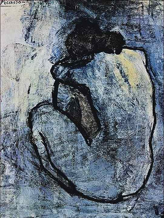 """Blue Nude"" 1902 by Pablo Picasso. Picasso's Blue Period marks his transition from Classicism to abstract Cubism"