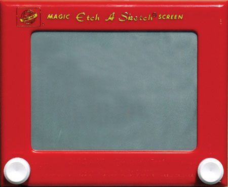 Etch a sketch - never could do anything beyond the basics it seemed and they erase far too easily. Didn't stop us from spending hours on it.