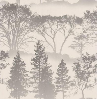 Mirage Grey (50-207) - Graham and Brown Wallpapers - A shimmering whimsical landscape of beckoning trees, Mirage, gives walls a muted ethereal feel. Showing in silver/grey on pearl. other colour ways available. Please request a sample for true colour match.
