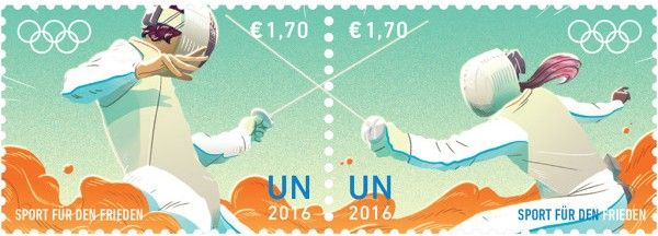 € 1.70 Fencing  UNPA issued a set of stamps to promote the contribution of sport to peace.  The stamps are issued ahead of the start of the Olympic Truce period for 2016 Summer Olympic and Paralympic Games in Rio de Janeiro, Brazil.